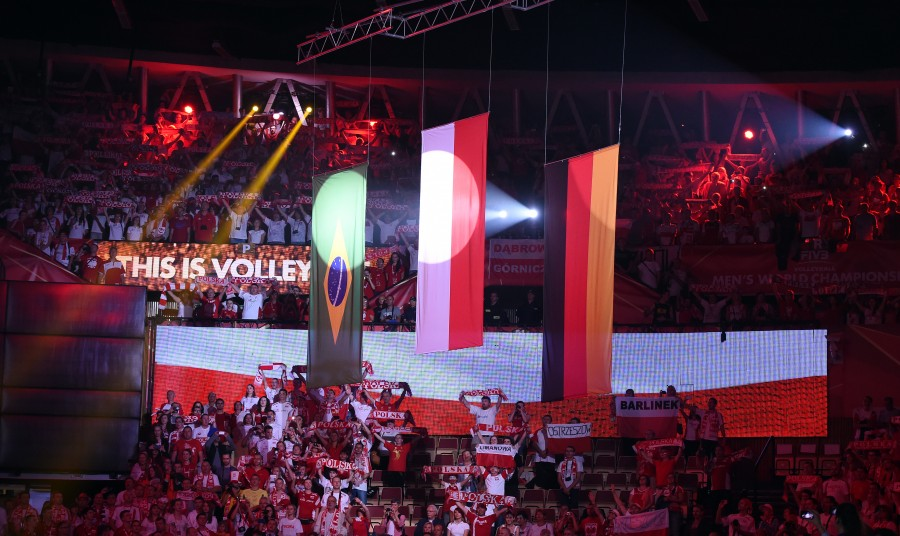Flags  of the winning teams at awarding ceremony