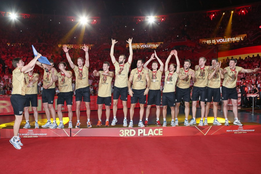 Germany team bronze medal celebrates